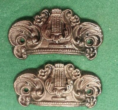 Pair Drawer Pulls Embossed Cast Iron Ornate Victorian Style