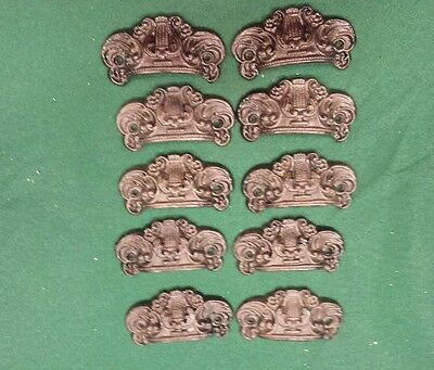 10 Drawer Pulls Embossed Cast Iron Ornate Victorian Style
