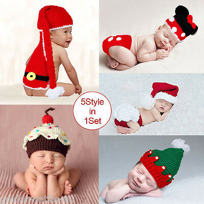 5pcs Newborn Baby Girls Boys Crochet Knit Costume Photo Photography Prop Outfits
