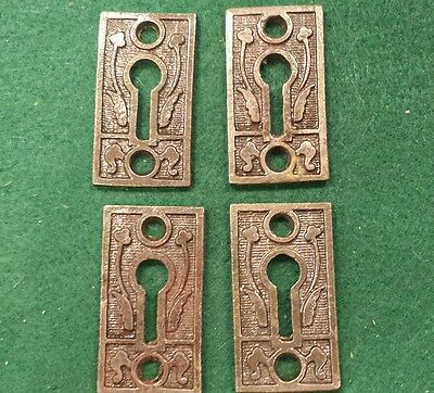 2 Pairs Decorative Victorian Style Key Hole Covers~Cast Iron
