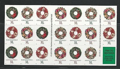 1998 3252c Christmas Wreaths Booklet of 20 with 3249-3252