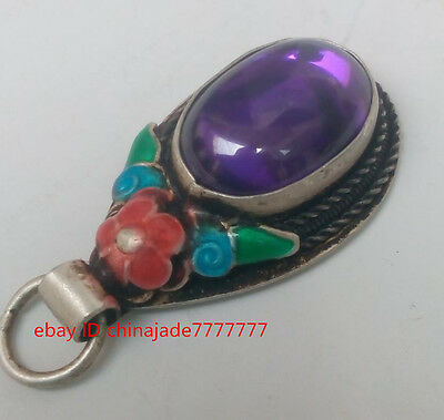 China Tibet-silver handwork inlay purple Zircon old cloisonne red flower pendant