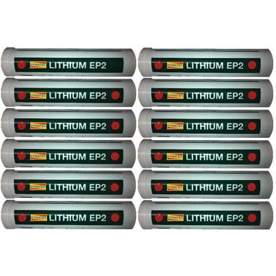 12 X EP2 Lithium Grease Gun Cartridge 400g Tube General Heat Multi Purpose Lube