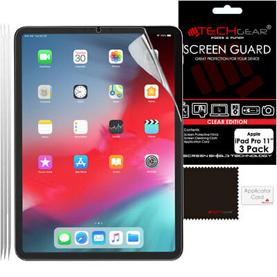 """3 Pack TECHGEAR Screen Protector Guard Covers for New Apple iPad Pro 11"""" (2018)"""