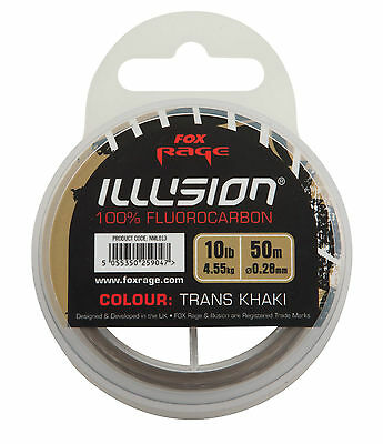 FOX RAGE - ILLUSION 100% FLUOROCARBON THRANS KHAKI LINE - 50m - ALL THE SIZES