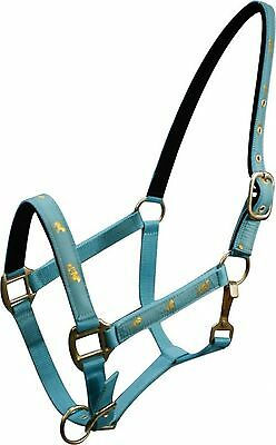 "TEAL Horse Size Nylon Halter w ""Running Horse"" Overlay! NEW HORSE TACK!"