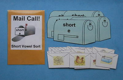Teacher Made Literacy Center Educational Learning Resource Game Short Vowels