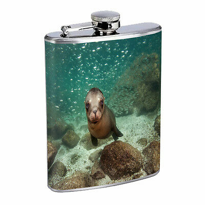 Sea Lion D5 8oz Stainless Steel Cute Ocean Animal Mammal California Pinniped
