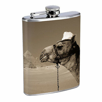 Camel D3 8oz Stainless Steel Flask Humps Desert Animal Agrabah Arabia Travel