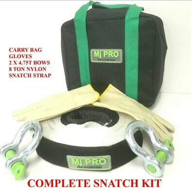 Snatch Strap kit 8 ton rated 9m x 60mm  + 2 bow shackles 4.75 ton gloves/bag