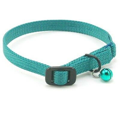 """HAMILTON Nylon Safety Cat Collar with Bell, 14"""" x 3/8"""", Teal"""