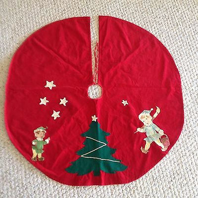True Vintage 1950's Christmas Tree Skirt Handmade Corduroy Felt and Sequined