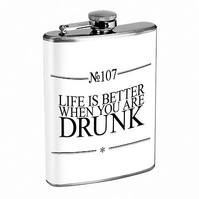 Funny Drinking Signs Hip Flask D11 8oz Stainless Steel Liquor Alcohol Whiskey