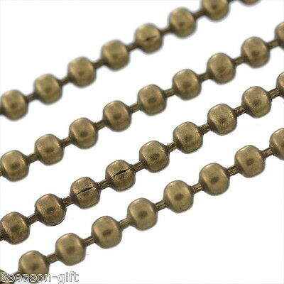 10M Bronze Tone Ball Chains Findings 1.5mm Dia.