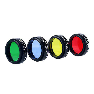 """New 1.25"""" Set of 4 Color Eyepiece Color Filter Metal&Glass for Telescope"""