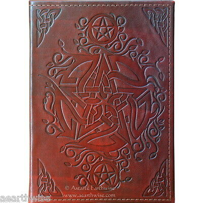 CELTIC PENTACLE LEATHER JOURNAL Witch Wicca Pagan Book of Shadows Goth Spell