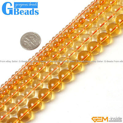 "Yellow Citrine Clear Crystal Round Beads For Jewellery Making Strand 15""2mm-14mm"