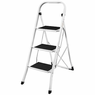 3 Step Ladder Anti-Slip Mat Folding Iron Strong Safe Stool DIY By Home Discount