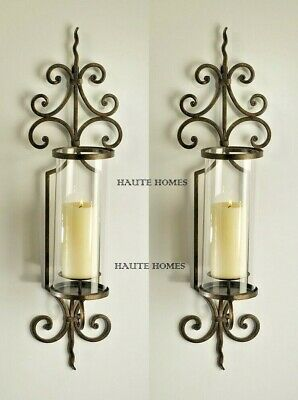 """NEW TUSCAN FRENCH ANTIQUE SCROLL 29""""H IRON Candle Holder Wall Sconce SET/2"""
