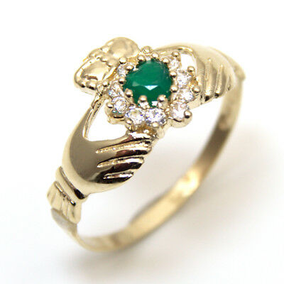 Claddagh Ring with Green Agate & Diamond-Unique Heart Ring 9ct Gold (CL20)