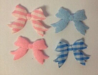 50 Blue Pink Large Gingham Ribbon Bow New Baby Card Making Craft Embellishments