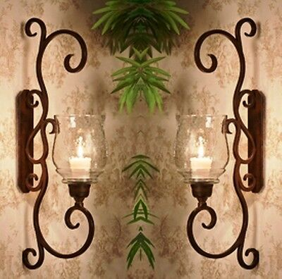 """NEW TUSCAN LARGE 22.75"""" H IRON SCROLL Candle Holder Wall Sconce SET/2"""