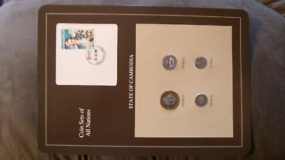 Coin Sets of All Nations Cambodia w/card 1994 UNC James Cook stamp