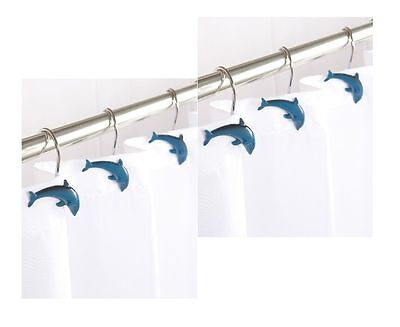 Aqualona 12 Pieces Decorative Home Fashions Dolphins Resin Shower Curtain Hooks