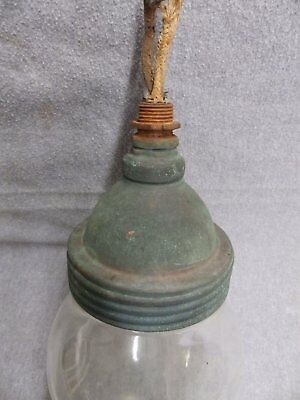 Vintage Industrial Copper Light Threaded Glass Globe Jar Early Steampunk 5053-15