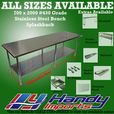 2000mm x 700mm STAINLESS STEEL #430 WORK BENCH KITCHEN FOOD PREP CATERING TABLE