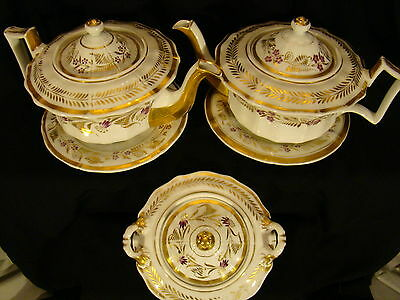 First Empire Old Paris Porcelain Pair Teapots on Stands & Covered Sugar Bowl