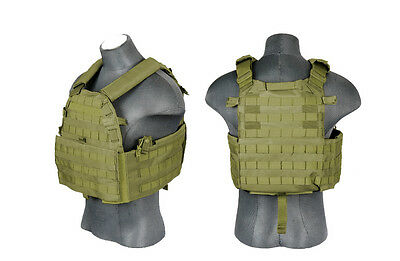 Lancer Tactical Adjustable Airsoft Military Plate Carrier Vest  OD GREEN CA-311G