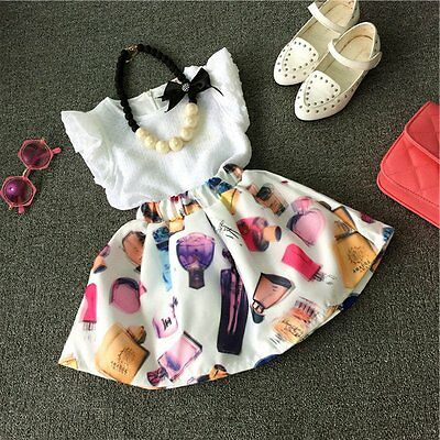 Kids Baby Girls Toddler T-shirt Tops+Printed Skirt Dress 2PCS Set Outfit Clothes