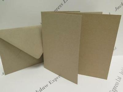 25 x Greeting Cards Blank Kraft 100% Recycled Single Fold Brown A6 280gsm +Env