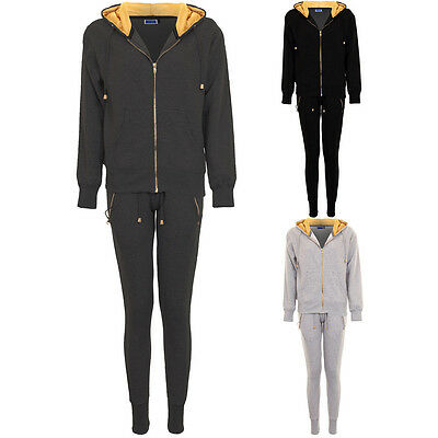 Womens Gold Fleece Insert Joggers Luxury Zip Up Hoodie Jacket Tracksuit Set