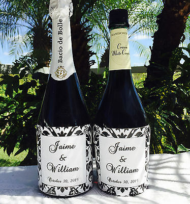 12 DAMASK Personalized GLOSSY Champagne/Wine Bottle labels 4Wedding/party favors