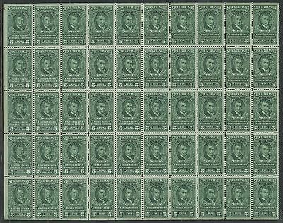 #rd108 Stock Transfer $5 1941 Full Sheet/50 Minor Seps 2Nd Row; Cat $2875 Wl9556
