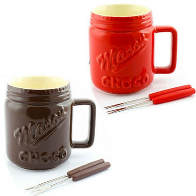 Ceramic Chocolate Choc Fondue Cheese Set With Forks Kitchen Box Party Jar Fruit
