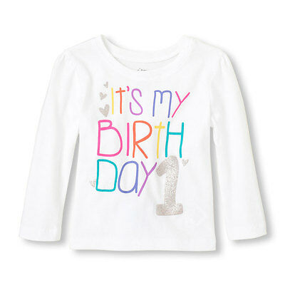 NEW NWT Girls 1st First Birthday Long Sleeve Shirt 9-12 or 12-18 Months