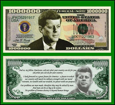 100 Factory Fresh Novelty John F. Kennedy Million Dollar Bills