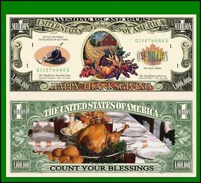 100 New Factory Fresh Novelty Thanksgiving Million Dollar Bill-New
