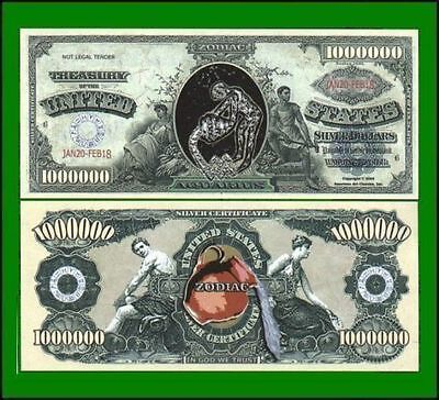 50 Factory Fresh Novelty Aquarius Zodiac Million Dollar Bills