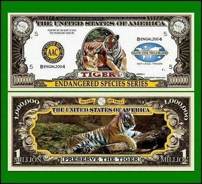 50 Factory Fresh Novelty Bengal Tiger Million Dollar Bills