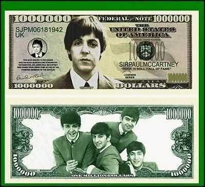 50 Factory Fresh Novelty Paul McCartney Million Dollar Bills