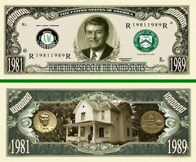 50 Factory Fresh Novelty Ronald Reagan Million Dollar Bills