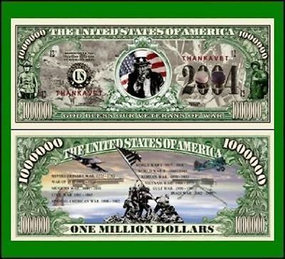 50 Factory Fresh Novelty God Bless Our Veterans Million Dollar Bills--New
