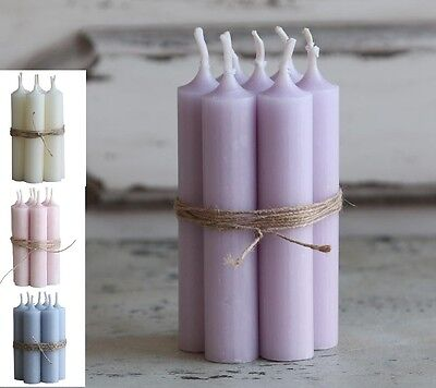 7 x Short Dinner Candles Pale Pink Blue Cream Purple Lilac Candle French Chic
