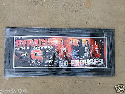 """2010-2011 Syracuse Mens Lacrosse """"No Excuses"""" Team Signed 12x36 Poster Framed xl"""