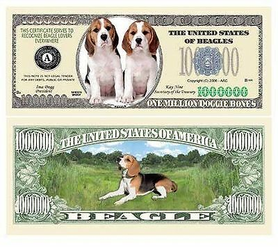 25 Factory Fresh Novelty Beagle Dog Million Dollar Bills