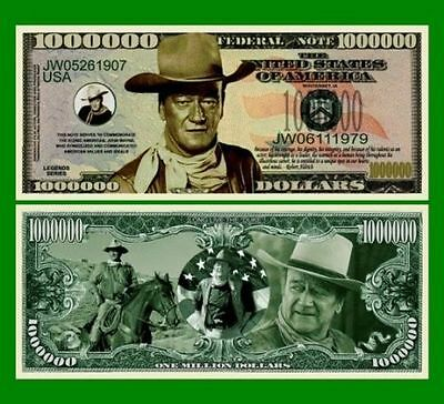 25 Factory Fresh Novelty John Wayne Million Dollar Bills-New